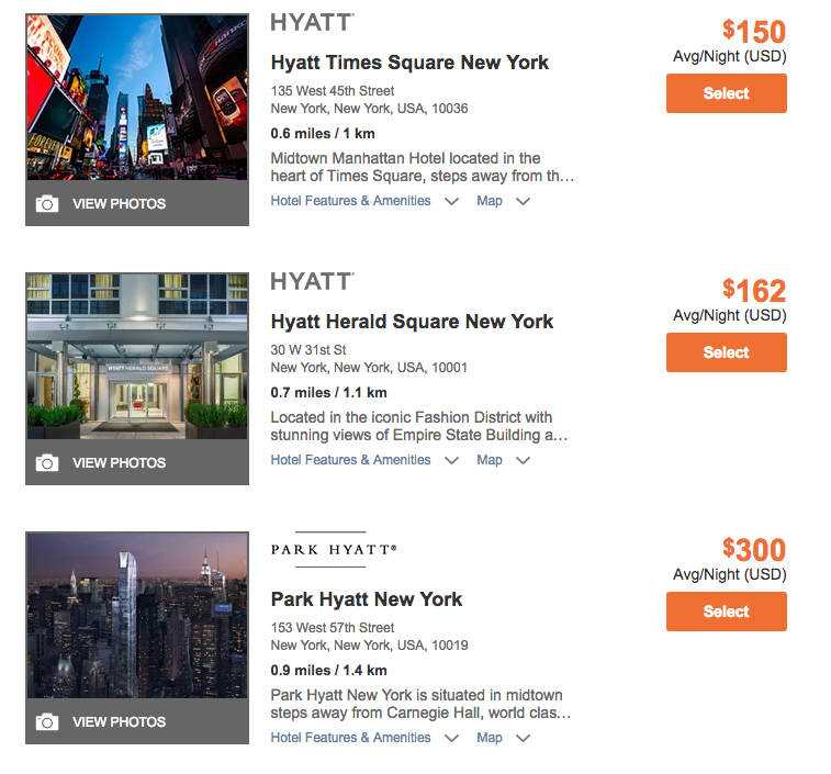 Easy way to search for Hyatt Cash + Points rates