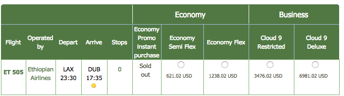 How I successfully bid on an Ethiopian Airlines Business Class upgrade