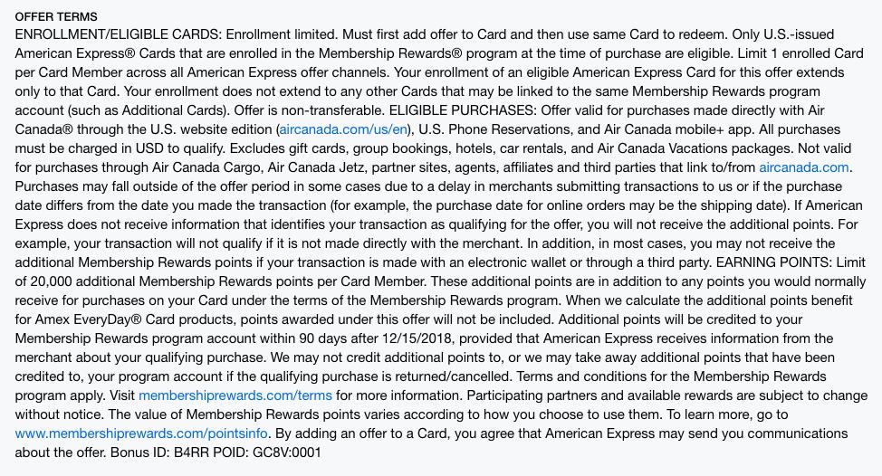 Air Canada Amex Offers